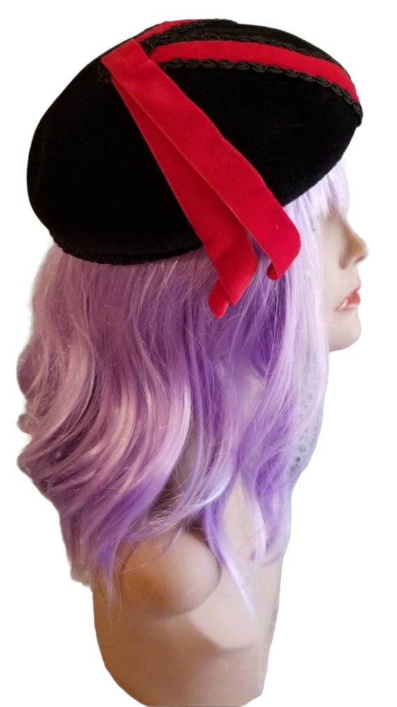 Anniversaire Velour Beret with Red Ribbon Accent … - image 4