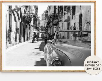 CUBA, HAVANA, CARIBBEAN, Cuban cars, Instant Print, Printables, Instant Download, Black White, Travel Photography, Home Decor, Gift Ideas