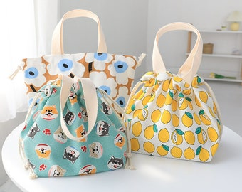 Colorful Japanese style String lunch bag -- Lunch Tote| Eco Friendly |Reusable |School |Gift for Kids women bridesmaids |Grocery |Durable