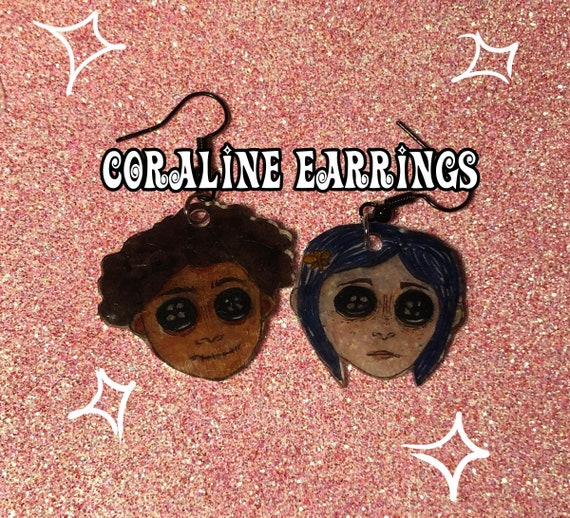 Coraline And Wybie Button Eyes Dangle Earrings Etsy