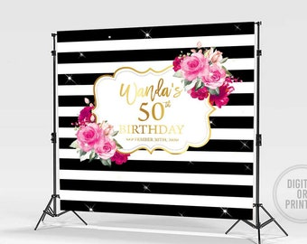 Birthday Party Backdrop 50th Birthday Backdrop Gold and Hot Pink Hot Pink Flowers Party Banner Custom Printed Vinyl Backdrop #25