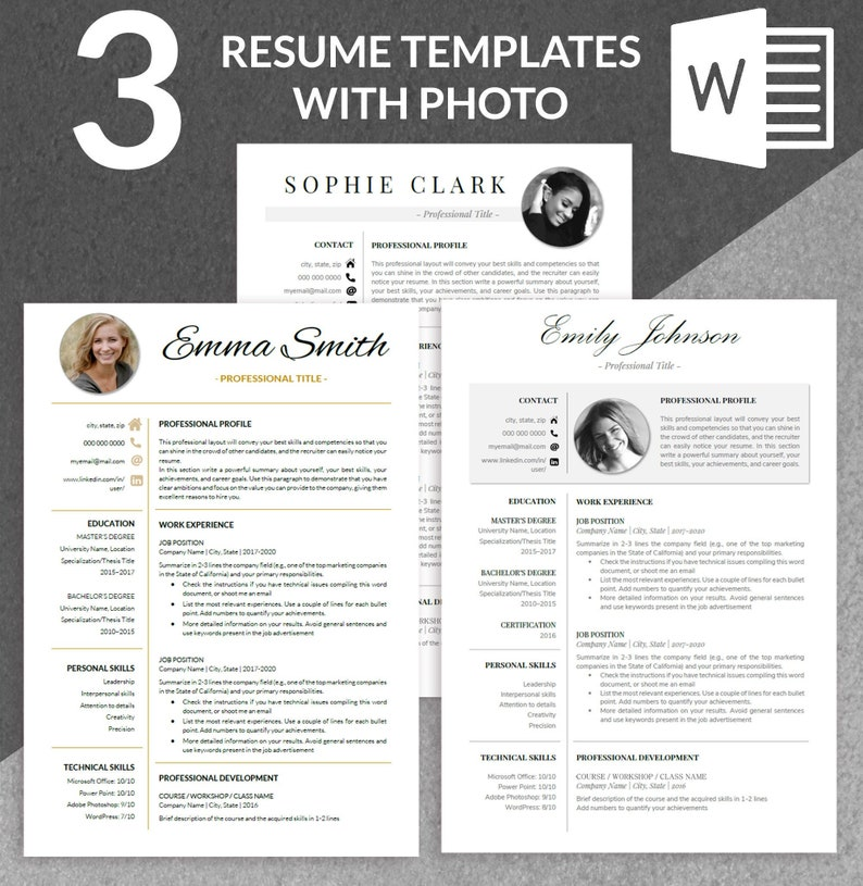 HR Resume Template Human Resources Creative College Student Waitress Paralegal Free ATS Friendly Executive Resume CV 2021 Photo One Page
