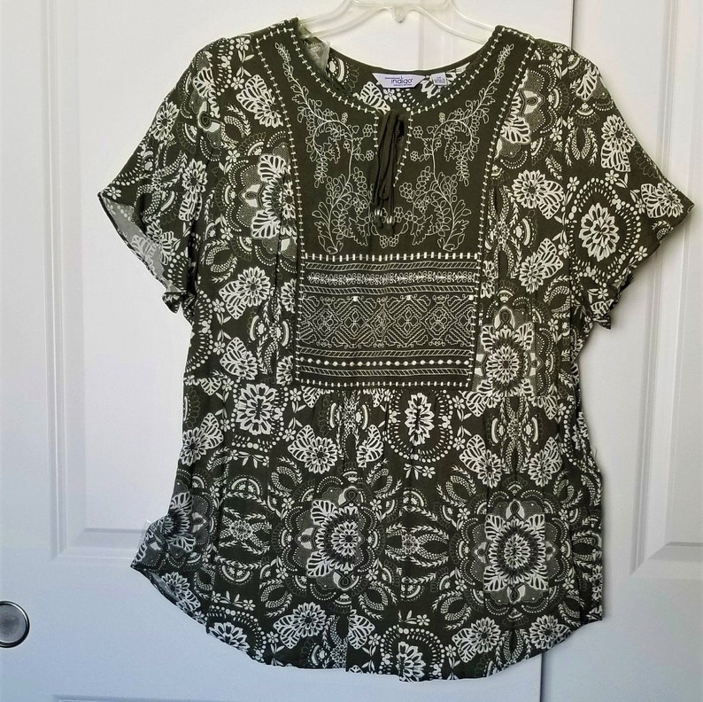 Summer Top Hippy Style Floral Top Womans Clothing Bohemian Top Boho Vintage Plus Size Olive Green Floral Blouse,Green Floral Blouse