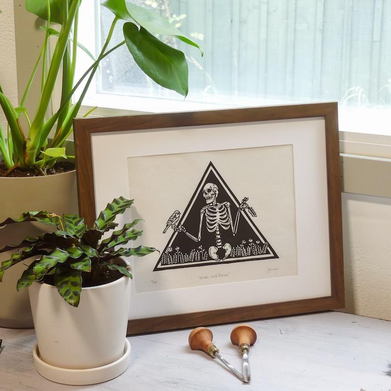 Macabre Original Hand Pulled Linocut Print Skeleton Art Print Skeleton Art Happy Skeleton Birds and Bones