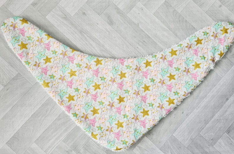 Set of 2 Pretty Pink green and white Meadow flower and Pastel Star print dribble bibs