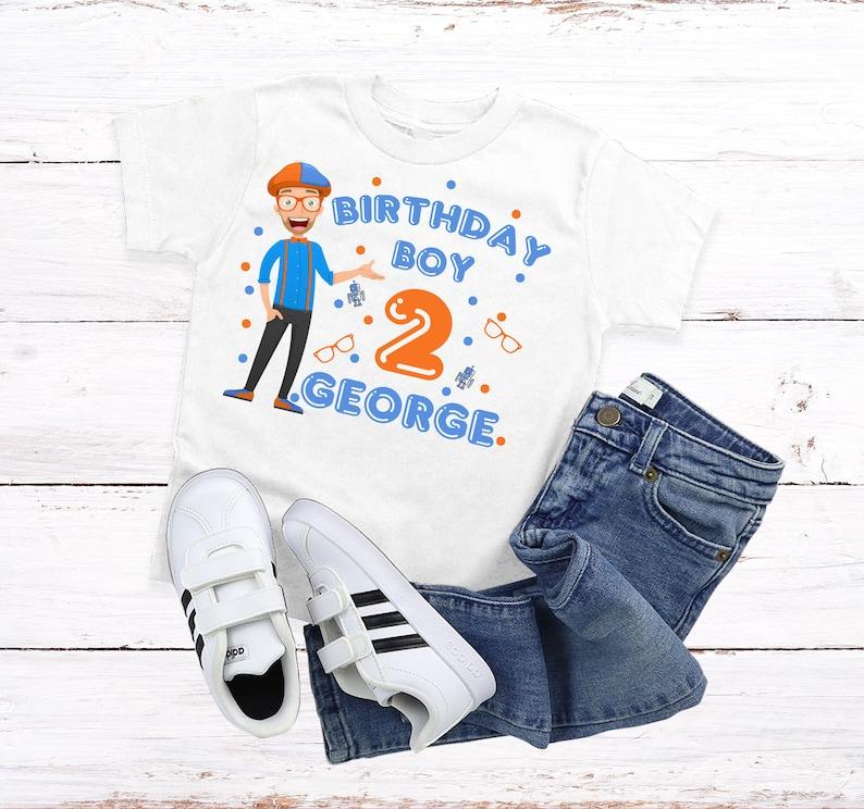 Blippi Birthday ShirtCustom Blippi ShirtBirthday Name ShirtFamily Birthday ShirtsBlippi Birthday Party