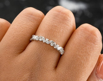 wedding band women silver eternity rings for women Wedding bands Women Twisted Rope both side diamond style promise ring