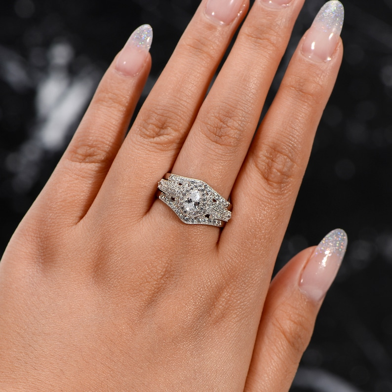 Pear Cut Ring 1.4ct Pear Wedding Ring Set Anniversary Gift Pear Promise Rings For Women 925 Sterling Silver Pear Halo Engagement Ring Set