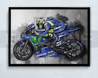 LLWMN Puzzle Valentino Rossi MotoGP Racing//Framed 5 Parties tendu Pieces Toile Impression HD Posters Graphique Accueil Decoration Home