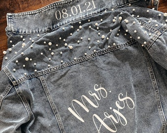Custom Jean Jacket with Pearls - Fiance or Wife, Engagement Gift