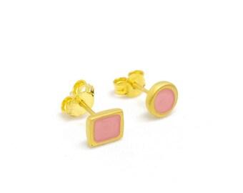 Post Earrings Hypoallergenic Stud Earrings Tiny Earrings Gold Vermeil Sterling Silver earrings Small Earrings Light Rose Earrings