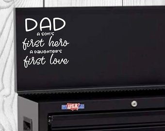 Dad Hero Love Vinyl Decal, Father's Day Decal, Decal for car windows, bumper stickers, phone cases, laptops, tumblers, and more!