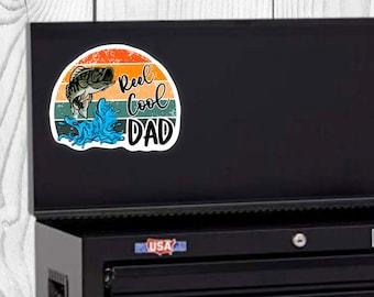Reel Cool Dad Sticker, Father's Day Sticker, Vinyl Die Cut Sticker, Weatherproof Sticker, Perfect for laptops, tumblers, etc