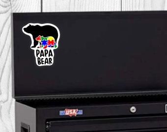 Papa Bear Autism Sticker, Father's Day Sticker, Vinyl Die Cut Sticker, Weatherproof Sticker, Perfect for laptops, tumblers, etc