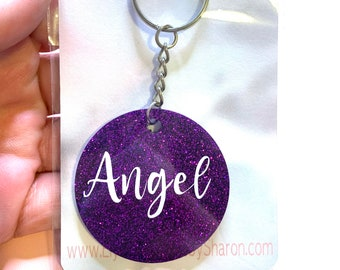 Custom 2 inch round keychains, Made with Resin and Glitter, Handmade
