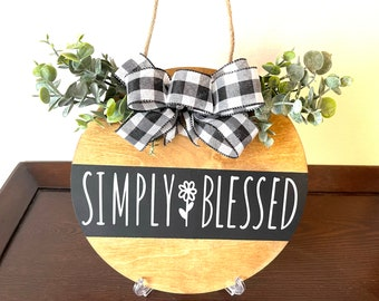 """Round Wood Sign, Simply Blessed Wood Sign, 12"""" Wood Sign, Door Hanger, Permanent Vinyl Wood Sign, Wall or Door Decor"""