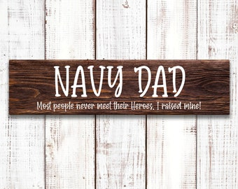 """Navy Dad Sign, Father's Day Sign, 5.5""""x18"""" Wood Sign, Wood sign made with Stencil and White Paint, Wall or Door Decor"""