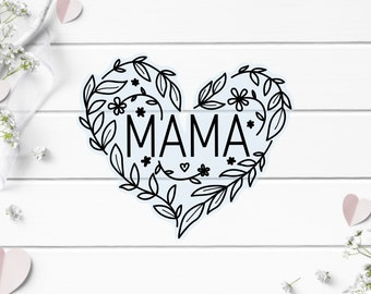 Clear Mama Floral Sticker, Vinyl Die Cut Clear Sticker, Weatherproof Sticker, Perfect for laptops, tumblers, and planners