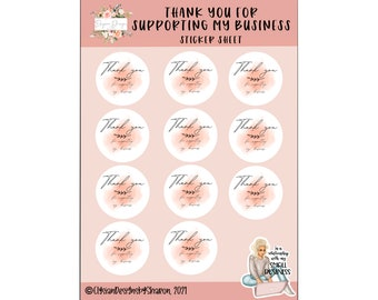 Small Business Stickers, Thank you for Supporting My Small Business, Packaging Stickers, Vinyl Die Cut Sticker, WeatherproofSticker