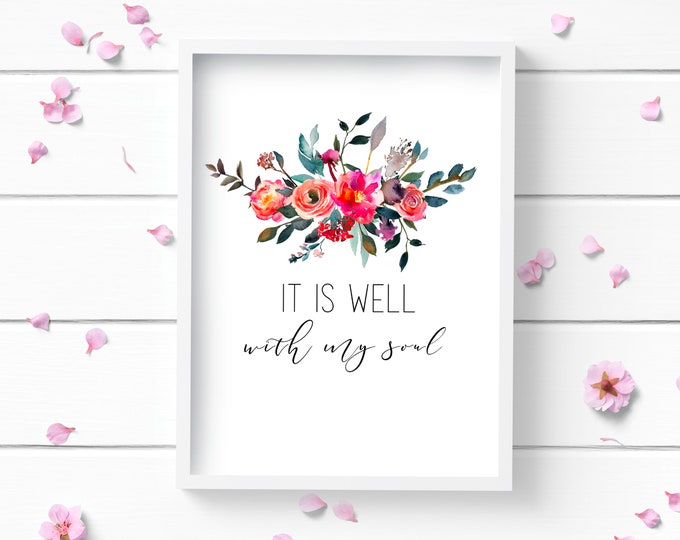 Featured listing image: It is Well Art Print, Positive and Inspiring Wall Art, Decor for Home or Office, Bedroom Art, Glamour and Fashion Print