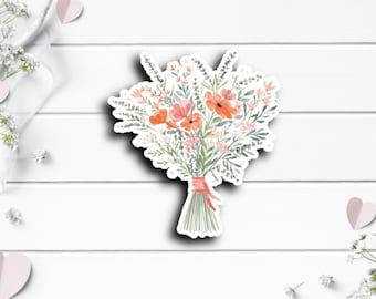 Bouquet Sticker, Vinyl Die Cut Sticker, Weatherproof Sticker, Perfect for laptops, tumblers, and planners