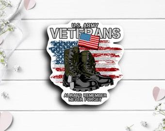 Patriotic Stickers, US Army Veterans Sticker, Vinyl Die Cut Sticker, Weatherproof Sticker, Patriotic Sticker, Military Sticker
