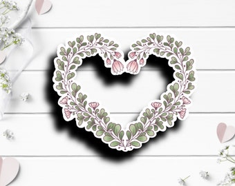 Floral Heart, Vinyl Die Cut Sticker, Weatherproof Sticker, Perfect for laptops, tumblers, and planners