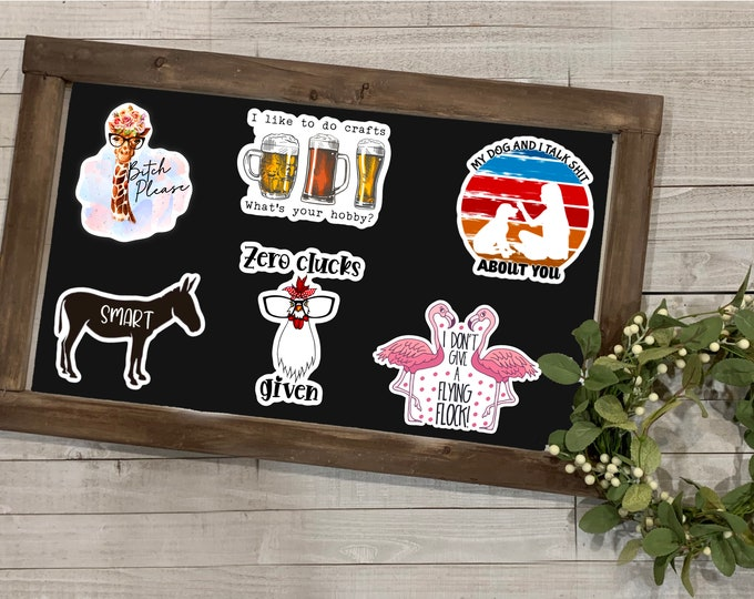 """Featured listing image: Funny Adult Stickers, Adult Humor Collection, Inappropriate Stickers, Vinyl Die Cut Sticker, Weatherproof Sticker, 3"""" Sticker,"""