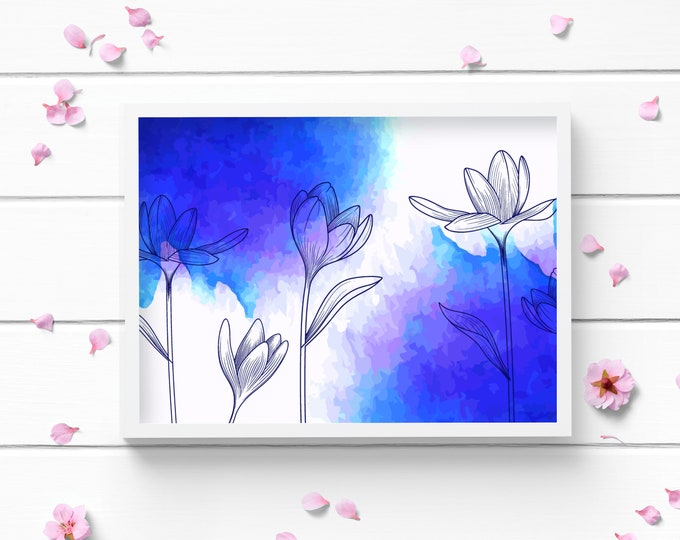 Featured listing image: Blue and Purple Floral Art Print, Positive and Inspiring Wall Art, Decor for Home or Office, Bedroom Art, Glamour and Fashion Print
