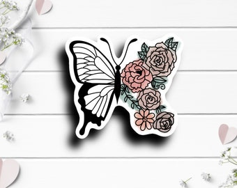 Floral Butterfly Sticker, Vinyl Die Cut Sticker, Weatherproof Sticker, Perfect for laptops, tumblers, and planners