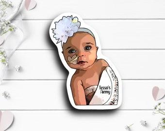 Tessa Sticker, @fightingforbabytessa on TikTok, Brain Cancer fighter, Tiny Warrior, #Tessa'sArmy, Go Fund Me Donation