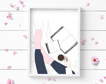 Art Prints, Sitting Girl Art Print, Positive and Inspiring Wall Art, Decor for Home or Office, Bedroom Art, Glamour and Fashion Print