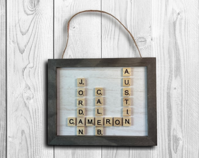 """Featured listing image: Scrabble Tiles Sign, Father's Day Sign, 8""""x10"""" Wood Sign, Wood sign made with Permanent Vinyl, Wall or Door Decor"""