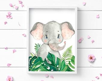 Art Prints, Elephant Print, Art Print, Nursery Decor, Positive and Inspiring Wall Art, Decor for Home or Office, Glamour and Fashion Print