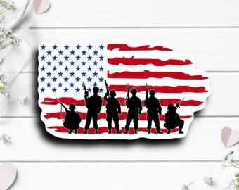 Patriotic Stickers, Soldier Flag Sticker, Vinyl Die Cut Sticker, Weatherproof Sticker, Patriotic Sticker, Military Sticker
