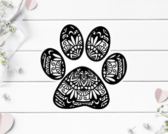 Clear Stickers, Dog Paw Mandala Clear Sticker, Vinyl Die Cut Clear Sticker, Weatherproof Sticker, Perfect for laptops, tumblers, planners