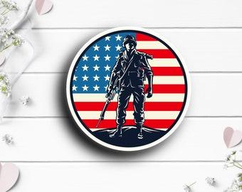 Patriotic Stickers, Military Soldier Flag Sticker, Vinyl Die Cut Sticker, Weatherproof Sticker, Patriotic Sticker, Military Sticker