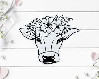 Clear Stickers, Cow Floral Clear Sticker, Vinyl Die Cut Clear Sticker, Weatherproof Sticker, Perfect for laptops, tumblers, and planners