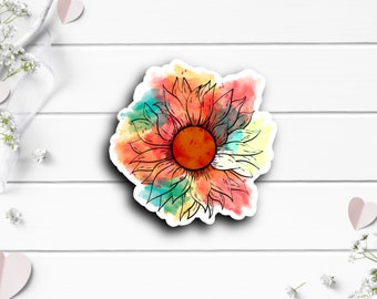 Sunflower Sticker, Water Resistant Vinyl Die Cut Sticker, Perfect for Planner or Journal, Gift for Her