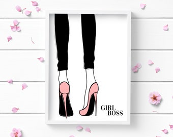 Girl Boss Art Print, Positive and Inspiring Wall Art, Decor for Home or Office, Bedroom Art, Glamour and Fashion Print
