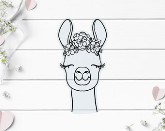 Clear Stickers, Llama Floral Clear Sticker, Vinyl Die Cut Clear Sticker, Weatherproof Sticker, Perfect for laptops, tumblers, and planners