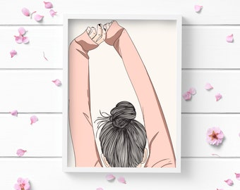 Morning Stretch Art Print, Positive and Inspiring Wall Art, Decor for Home or Office, Bedroom Art, Glamour and Fashion Print