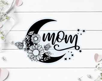 Clear Mama Moon Sticker, Vinyl Die Cut Clear Sticker, Weatherproof Sticker, Perfect for laptops, tumblers, and planners