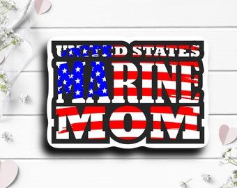 Patriotic Stickers, Marine Mom US Flag Sticker, Vinyl Die Cut Sticker, Weatherproof Sticker, Patriotic Sticker, Military Sticker, Marines