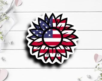 Patriotic Stickers, US Flag Sunflower Sticker, Vinyl Die Cut Sticker, Weatherproof Sticker, Patriotic Sticker, Military Sticker
