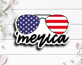 Patriotic Stickers, 'Merica Sunglasses Sticker, Vinyl Die Cut Sticker, Weatherproof Sticker, Patriotic Sticker, Military Sticker