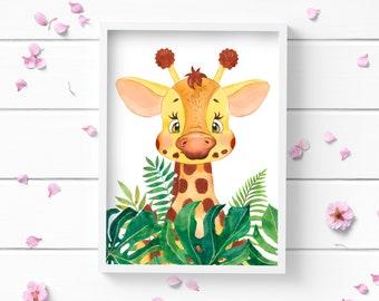 Art Prints, Giraffe Print, Art Print, Nursery Decor, Positive and Inspiring Wall Art, Decor for Home or Office, Glamour and Fashion Print