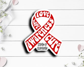 Stoke Awareness Sticker, Stroke Awareness Ribbon, Vinyl Die Cut Sticker, Weatherproof Sticker, Perfect for laptops, tumblers, and planners