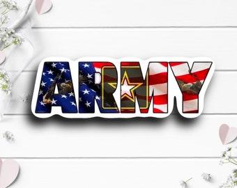 Patriotic Stickers, Army Sticker, Vinyl Die Cut Sticker, Weatherproof Sticker, Patriotic Sticker, Military Sticker, US Army Flag