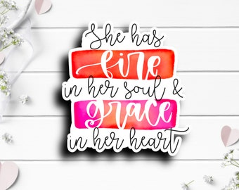 Small Business Stickers, Fire In Her Soul Sticker, Vinyl Die Cut Sticker, Weatherproof Sticker, Perfect for laptops, tumblers, and planners